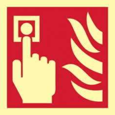 Fire alarm symbol - PHS 100 x 100mm Photoluminescent s/a label sign