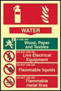 Fire extinguisher composite - Water - PHS 200 x 300mm Photoluminescent s/a label sign