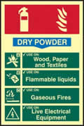 Fire extinguisher composite - Dry powder - PHS 200 x 300mm Photoluminescent s/a label sign