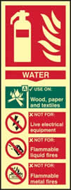 Fire extinguisher composite - Water - PHS 75 x 200mm Photoluminescent s/a label sign