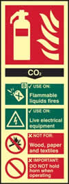 Fire extinguisher CO2 - PHS 82 x 202mm Photoluminescent s/a label sign