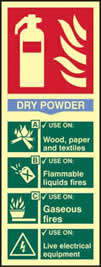 Fire extinguisher Dry powder - PHS 82 x 202mm Photoluminescent s/a label sign