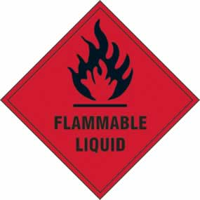Flammable liquid - s/a vinyl - 100 x 100mm sign