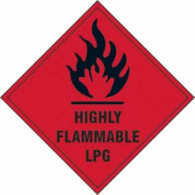Highly flammable LPG - s/a vinyl - 100 x 100mm sign