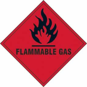 Flammable gas - s/a vinyl - 100 x 100mm sign