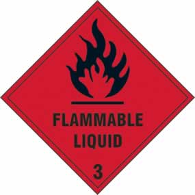 Flammable liquid Class 3 - s/a vinyl - 100 x 100mm sign