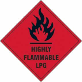 Highly Flammable LPG - s/a vinyl - 200 x 200mm sign