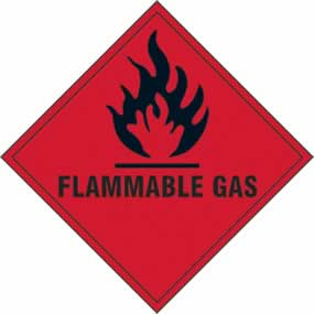 Flammable Gas - s/a vinyl - 200 x 200mm sign