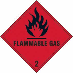 Flammable Gas 2 - s/a vinyl - 200 x 200mm sign