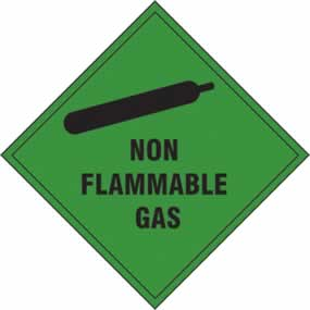 Non flammable gas - s/a vinyl - 100 x 100mm sign