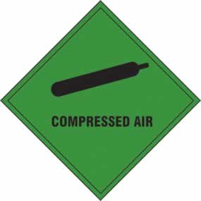 Compressed air - s/a vinyl - 100 x 100mm sign