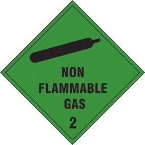 Non flammable gas Class 2 - s/a vinyl - 100 x 100mm sign