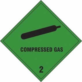 Compressed gas Class 2 - s/a vinyl - 100 x 100mm sign