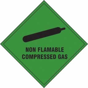 Non Flammable Compressed Gas - s/a vinyl - 100 x 100mm sign
