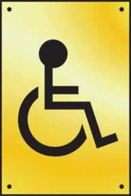 Disabled graphic door plate - Polished Brass 100 x 150mm sign
