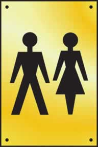Unisex toilet graphic door plate - Polished Brass 100 x 150mm sign