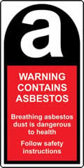 Warning Contains Asbestos 25 x 50mm Roll of 500 labels sign
