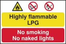 Highly flammable LPG No smoking or naked lights - 1mm rigid pvc 600 x 400mm sign