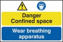 Danger Confined space / Wear breathing apparatus - 1mm rigid pvc 600 x 400mm sign