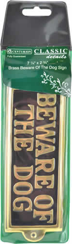 7 1 / 4 inch x 2 3 / 4 inch Brass Beware Of The Dog Sign