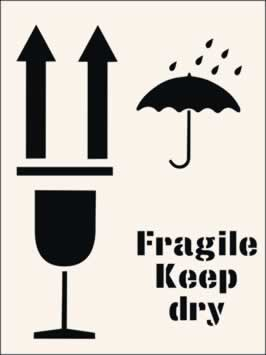 Fragile Keep Dry Stencil 190 x 300mm Stencil