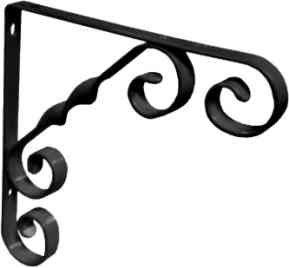 100 mm 4 inch Black Wrought Iron Scroll Bracket
