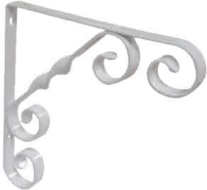 150 mm 6 inch White Wrought Iron Scroll Bracket