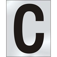 50mm polished chrome effect sign Character C sign
