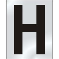 50mm polished chrome effect sign Character H sign