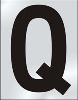 50mm polished chrome effect sign Character Q sign