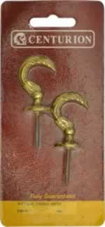 45 mm Polished Brass Antique Tassel Hook Packet of 2 sign