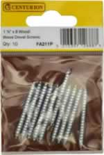 1 1 / 2 inch x 8 inch SC Wood / Wood Dowel Screws Packet of 10