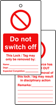 Lockout tags Do not switch off Double sided 10 pack