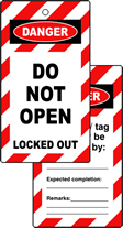 Lockout tags DO NOT OPEN Double sided 10 pack