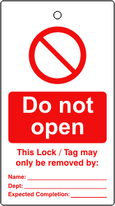 Lockout tags Do not open Single sided 10 pack