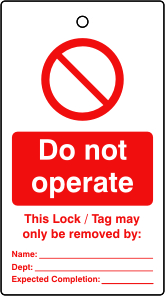 Lockout tags Do not operate Single sided 10 pack