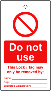 Lockout tags Do not use Single sided 10 pack