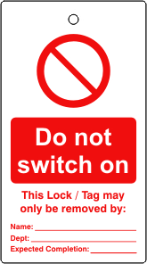Lockout tags Do not switch on Single sided 10 pack