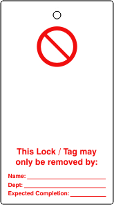 Lockout tags Prohibition blank for user completion Single sided 10 pack
