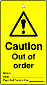 Lockout tags Caution Out of order Single sided 10 pack