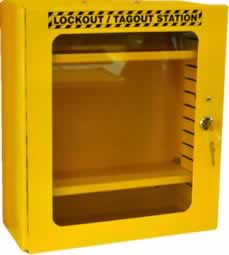 Yellow Lockout Cabinet Clear Fascia HWD 400 x 360 x 155mm