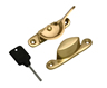 60 mm Polished Brass Locking Fitch Pattern Sash Fastener