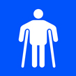 Man on crutches graphic - Taktyle Sign 150 x 150mm