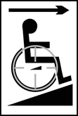 Disabled ramp arrow right - Taktyle Sign 150 x 225mm