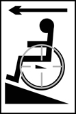 Disabled ramp arrow left - Taktyle Sign 150 x 225mm