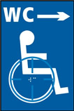 Disabled WC arrow right - Taktyle Sign 150 x 225mm
