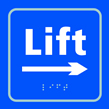 Lift arrow right - Taktyle Sign 150 x 150mm