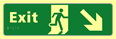 Exit man running arrow down / right - TaktylePh 450 x 150mm sign