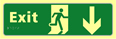 Exit man running arrow down - TaktylePh 450 x 150mm