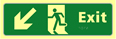 Exit man running arrow down / left - TaktylePh 450 x 150mm